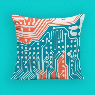 Coussin décoratif imprimé, bleu et orange polyester, 40*40 cm. Made In France.