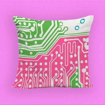 Coussin décoratif imprimé, vert et rose, polyester, 40*40 cm. Made In France.