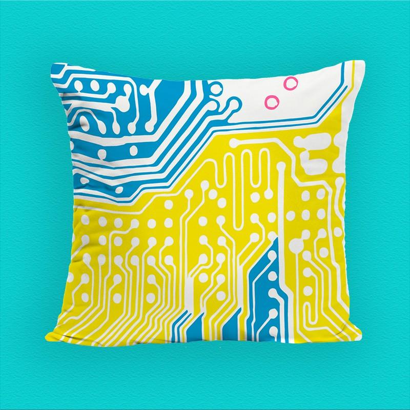 Coussin décoratif imprimé, bleu et jaune, polyester, 40*40 cm. Made In France.