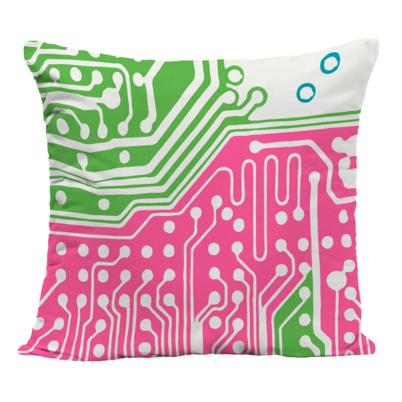 Coussin design imprimé, vert et rose, polyester, 40*40 cm. Made In France.