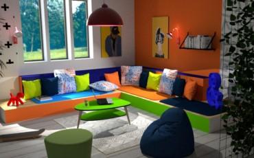 Aménagement d'un coin-lecture avec Mahagama le coussin orange et bleu